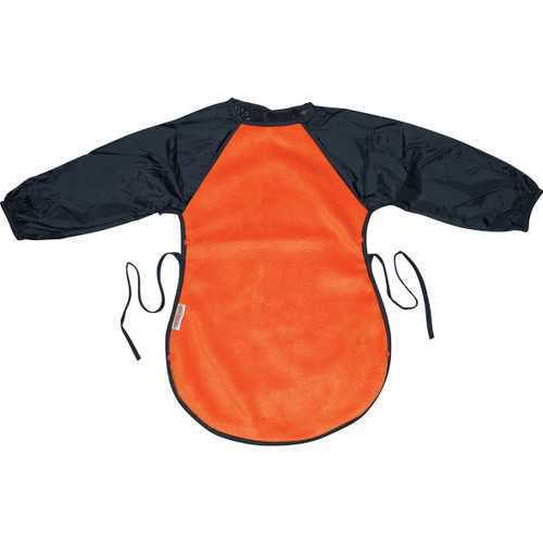 Silly Billyz Messy Eater Bib for toddlers has all the features of the Long Sleeve Bib but with an extra-long and wide front. This super long durable bib covers your toddler's front as well as the knees while they're seated to eat. Clever side press studs clip together to create a food catching pocket so less mess at mealtimes! Perfect for painting and gooey games too!