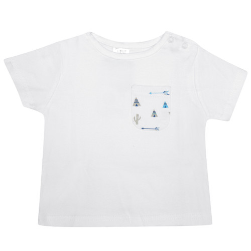 Features a sweet patterned pocket and double pop stud opening on the shoulder for easy dressing. Made from 100% cotton jersey which is super soft and gentle on newborn skin.