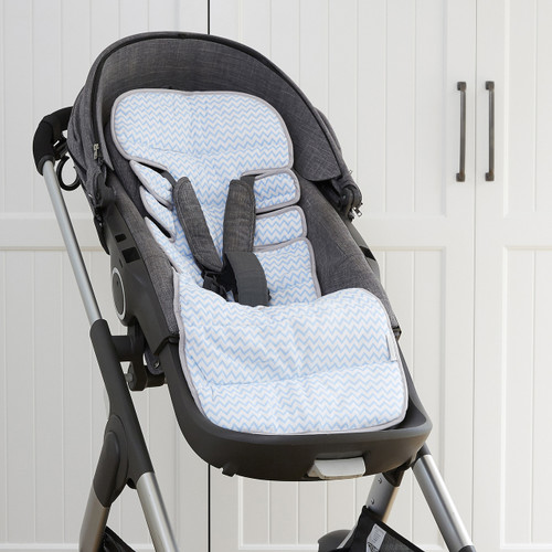 Made with gorgeous contemporary designer jersey cotton front, our stroller liners are soft on your babies skin while still protecting your stroller from mess.