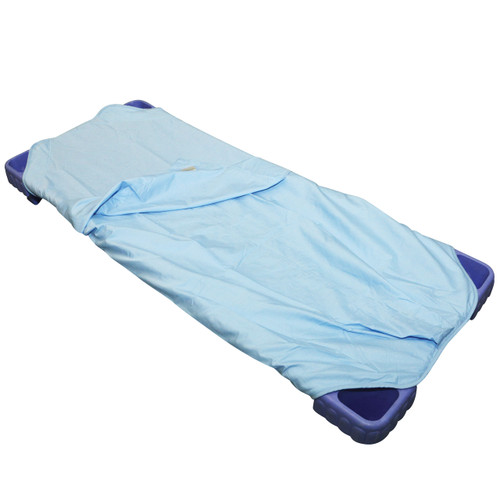 Size: 132 x 65cm Materials: 100% Polycotton Features: 1 piece fitted sheet and flat sheet joined at the bottom.