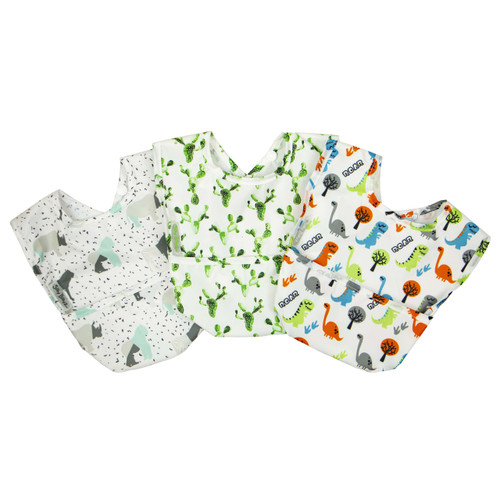 Wipe Clean Nylon Pocket Bib 3pk Boy