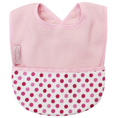 Pale Pink/Dots Fleece Pocket Bib