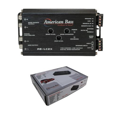 American Bass AB-LC2X, 2 Channel Line Output Converter, 9.5V PreOut, Dash Mount Remote, Built In Bass Enhancer