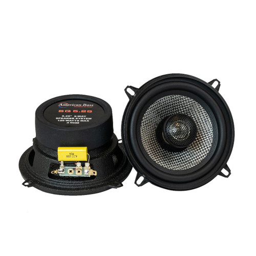 "American Bass SQ-525, 5.25"" 2 Way Coaxial Speakers, 120 Watts Max, Swivel Tweeter"
