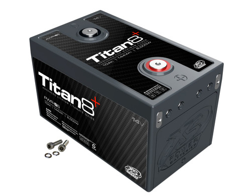 XS Power PWR-S6 14v Lithium Titan8 Battery  DESCRIPTION  Power Modules - Designed for Peak Power  This Titan8 Series Lithium Titanate Oxide (LTO) series uses a very high power lithium cell that is designed for very high burst output (up to 100 times its capacity) as well as very high charge current (30-60 times its capacity). This translates to a single 10Ah module that can support burst current up to 1,000A, and can accept 300A of continuous charge current. The built in 2/0 bussing allows up to 4 Positive and 4 Negative hidden direct connections to each module without the need for any external exposed bussing, while still leaving two easily accessible top terminals and four series or parallel expansion terminals to easily build a bank of nearly any configuration from 14V, 28V, or any configuration imaginable.