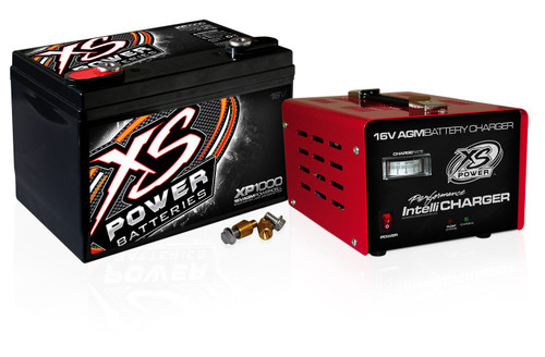 XS Power XP1000CK2 - XP1000 16V Battery and 1004 16V, 15A IntelliCharger Combo for Racing Vehicles