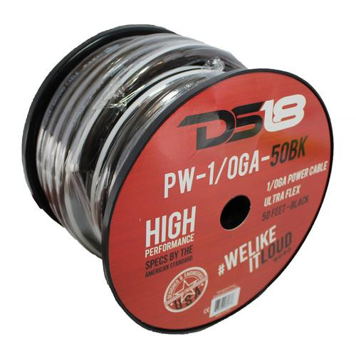 50 FT DS18 1/0 AWG Copper Clad Aluminum Black Power Ground Wire