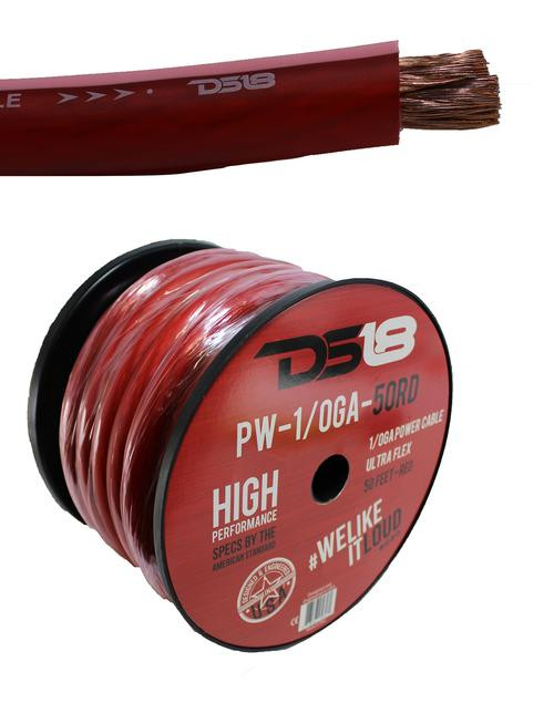50 FT DS18 1/0 AWG Copper Clad Aluminum Red Power Ground Wire