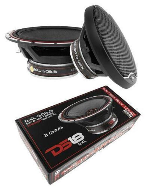 DS18 EXL-SQ6.5 2 way Coaxial Door Speakers 800 Watt Fiber Glass Cone 3 Ohm 1 Pair