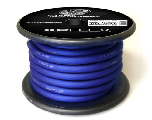 XS Power 1/0 Cable, 5250 Strands, 10% OFC, 90% CCA, XP FLEX, Iced Blue, Spool