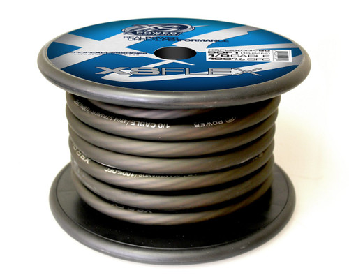 XS Power 1/0 Cable, 100% Oxygen Free Tinned Copper, Iced Black, 50' Spool