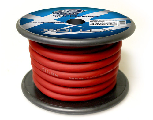 XS Power 1/0 Cable, 100% Oxygen Free Tinned Copper, Iced Red, 50' Spool