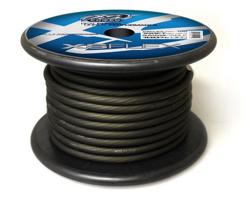 XS Power 4 AWG Cable, 100% Oxygen Free Tinned Copper, Iced Black, 100' Spool