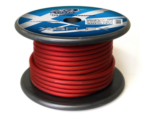 XS Power 4 AWG Cable, 100% Oxygen Free Tinned Copper, Iced Red, 100' Spool