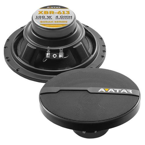 "Avatar XBR-613 6.5"" 100 Watts 4-Ohm Black Component Coaxial Speakers"
