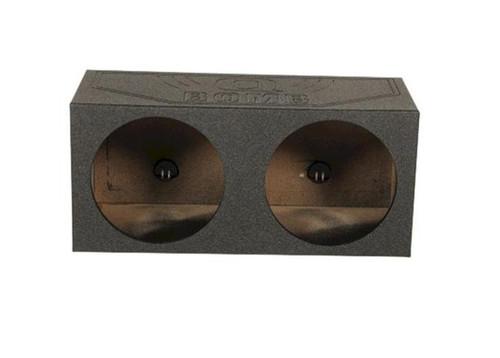 "Dual 12"" Sealed Speaker Box Rhino Lined MDF Subwoofer Enclosure Q Power QB12S"