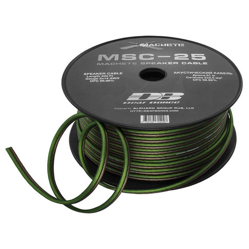 Deaf Bonce Machete MSC-25 14 AWG 200 ft Green/Black OFC Speaker Cable  This Listing Includes: (1) 200 FT Roll of Speaker Wire  Features: - Speaker Wire - Green/Black Color - Gauge 14 Gauge - OFC 99.99%  Length: 200 Foot