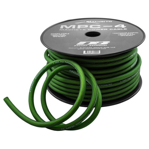 Deaf Bonce Machete MPC-4 4 AWG 100 ft Green OFC Power Cable  This Listing Includes: (1) 100 ft roll of Speaker Wire  Features: - Power Cable - Colored Green - OFC 99.99% - Gauge 4 AWG  Length: 100 Foot  Deaf Bonce Machete MPC-4 4 AWG 100 ft Green OFC Power Cable  This Listing Includes: (1) 100 ft roll of Speaker Wire  Features: - Power Cable - Colored Green - OFC 99.99% - Gauge 4 AWG  Length: 100 Foot