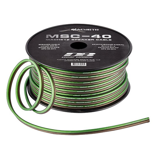 Deaf Bonce Machete MSC-40 12 AWG 200 ft Green/Black OFC Speaker Cable  This Listing Includes: (1) 200 foot roll of Speaker Wire  Features: - Speaker Cable - Black and Green Color - Gauge 2 x 12 AWG - OFC 99.99%  Length: 200 Foot