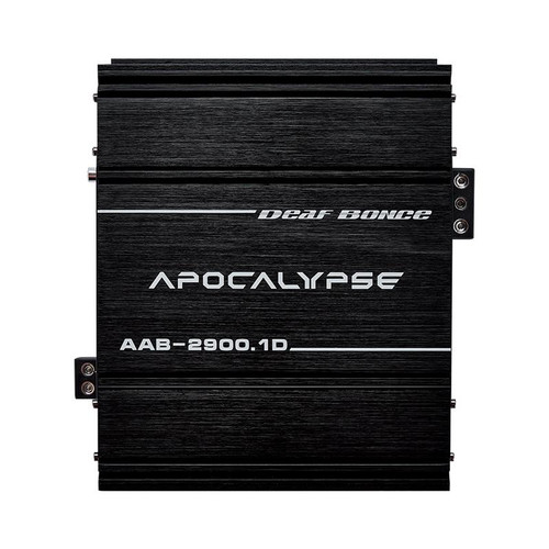 Deaf Bonce Apocalypse AAB-2900.1D Monoblock Class D 3100 W Competition Amplifier  This Listing Includes: (1) Amplifier (1) Remote Control (1) Mounting Kit  Specifications: Model: AAB-2900.1D Class: D Number of the channels: 1 Frequency response: 15 - 20000 Hz 1 Ohm RMS Power (14.4 V): 3100 W 1 Ohm RMS Power (12 V): 2900 W 2 Ohm RMS Power (14.4 V): 2050 W 4 Ohm RMS Power (14.4 V): 1100 W Minimum permissible load on the channel: 1 Ohm Input SPL: 0.5 - 8 V Low pass filter: 80 - 20000 Hz High pass filter: 15 - 80 Hz Crossover: 12 dB/Oct Input terminal: 4 Ga Output terminal: 8 Ga Working voltage: 9 - 15 V  Dimensions: 7.28 x 9.72 x 2.89 inch
