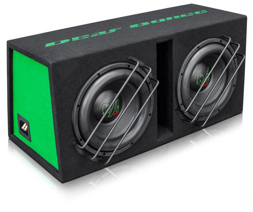 """Deaf Bonce Machete EMFD-12 Loaded 12"""" 3200W Dual 1-Ohm Vented Subwoofer Enclosure  This Listing Includes: 1) Dual Vented Subwoofer Enclosure 1) Manual  Features: Model: MF-12 D1 Type: Subwoofer Size: 12 inch Voice coil size: 3.00 inch Cone: Paper Magnet: Ferrite Voice coil wire: CCAW Surround: Foam RMS Power: 800 W Each MAX Power: 1600 W Each Frame: Steel Impedance: 1+1 Ohm SPL: 86.00 dB Fs: 37.00Hz BL: 15.80 Vas: 24.80L Xmax: 15.00mm  Enclosure Dimensions: Length: 33"""" / 840mm Bottom Width: 16.53"""" / 420mm Top Width: 13"""" / 330mm Height: 15.74"""" / 400mm  Subwoofer Dimensions: Cutout: 11.1"""" / 282mm Overall: 12.36"""" / 314mm Overall Depth: 7.28"""" / 185mm Mounting Depth: 6.37"""" / 162mm"""