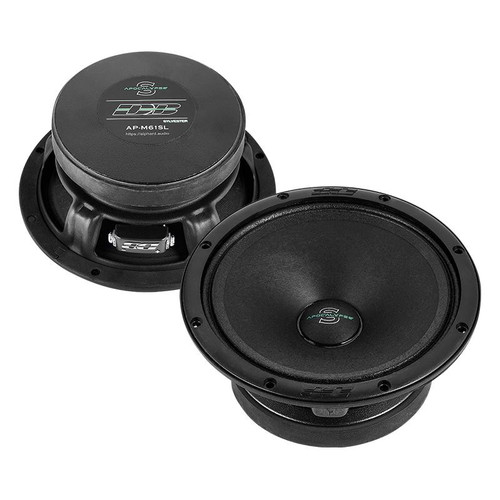 """Deaf Bonce AP-M61SL 6.5"""" 260 Watt 4 Ohm Mid Range Speakers Apocalypse Series  This Listing Includes: (2) Speakers  Specifications: Model: AP-M61SL Type: Midrange Size: 6.5 inch Frequency response: 100-14000 Hz Package quantity: Pair Voice coil size: 1.20 inch Cone: Paper Magnet: Ferrite Voice coil wire: CCAW Surround: Cloth RMS Power: 130 W MAX Power: 260 W Frame: Steel Impedance: 4 Ohm SPL: 101.40 dB Fs: 117.00 Hz Qts: 0.56 BL: 5.62 Vas: 5.26 L  Dimensions: Mounting depth: 2.8"""" Cut-out dimension: 5.6"""" Overall Diameter: 6.5"""" Overall Height: 3"""""""