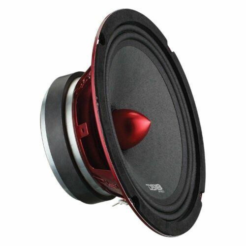 "DS18 PRO-X8.4BM 800W 8"" Mid range Full Range Loudspeaker Bullet 4 Ohm  This listing includes (1)  DS18 PRO-X8.4BM 800W  8"" Mid range Loudspeaker  Red Color Steel Basket 30 Oz. High Strength Ferrite Magnet Cloth Edge and Non-Pressed Paper Cone 1.5"" High Temperature CCAR Voice Coil Red Aluminum Bullet 400 Watts RMS Power Per Speaker 800 Watts Max Power Per Speaker Impedance: 4 Ohms Sensitivity: 99 dB Frequency Response: 93-16kHz"