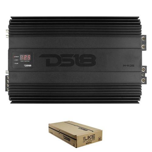 DS18 H-KO5 Hooligan Monoblock 5000W Amplifier w/ Voltmeter and Clip Indicator