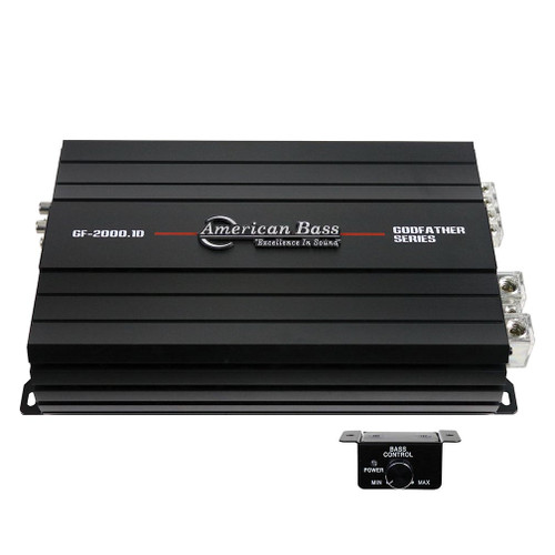 American Bass Godfather 2000.1D Class-D Monoblock Amplifier, 2340 Watts RMS, 1 Ohm Stable