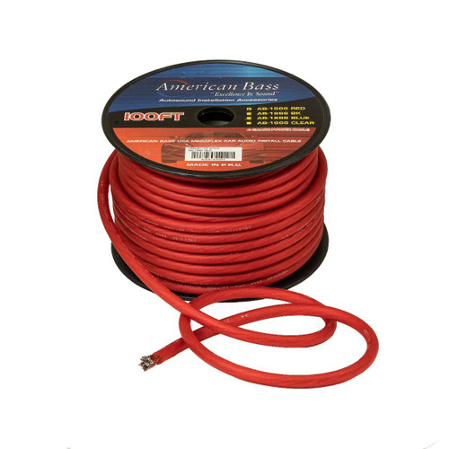 American Bass 4 Gauge AWG Mega Flex Power Cable, 1666 Strands, 100ft Roll, Red