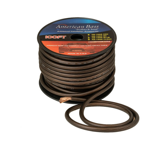 American Bass 4 Gauge Mega Flex Power Cable, 1666 Strands, 100ft Roll, Black AB-1666