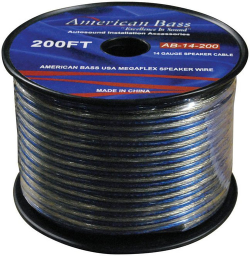 American Bass 14 Gauge 200FT Megaflex Speaker Wire, AB-14-200 General Features: 200 ft. of 14 Gauge Speaker Cable Twisted pair construction reduces magnetic radiation for improved power flow Ultra flex jacket provides clarity and maximum flexibility Fine-stranded high conductivity copper windings Blue/Clear ultra-flex jacket Length: 200 ft. Authorized Internet Dealer