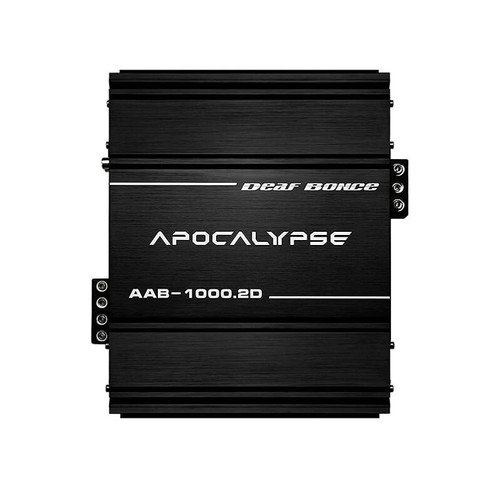 Deaf Bonce Apocalypse AAB-1000.2 2 Channel 1000W Class D Competition Amplifier  This listing includes: (1) Amplifier (1) Bass knob (1) Owner's Manual (1) Mounting Kit  Specifications Model: AAB-1000.2D Class: D Number of the channels: 2 Frequency response: 15 - 20000 Hz 1 Ohm RMS Power (14.4 V): 1000 W x 2 1 Ohm RMS Power (12 V): 850 W x 2 2 Ohm RMS Power (14.4 V): 525 W x 2 4 Ohm RMS Power (14.4 V): 300 W x 2 Minimum permissible load on the channel: 1 Ohm Input SPL: 0.5 - 8 V Low pass filter: 50 - 10000 Hz High pass filter: 15 - 1000 Hz Crossover: 12 dB/Oct Input terminal: 4 Ga Output terminal: 8 Ga Damping factor: less than or equal to 600 Working voltage: 9 - 15 V Signal-to-noise ratio: less than or equal to105 dB  Dimension: Size (WхLхH inch): 8.5 x 9.7 х 2.9