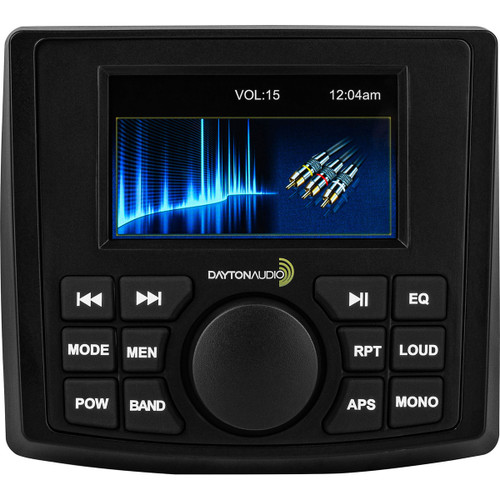 Dayton Audio MH450 Waterproof 4-Channel Marine / RV Receiver with Bluetooth and Video Input 50W   Waterproof, powerful, and full of features, this Dayton Audio marine receiver is a great way to add audio and video to your boat, ATV, or side-by-side. Great for beginners and experts alike, this isn't just a receiver; it is a full featured media center! Key Features Bluetooth 5.0 allows you to play your favorite music effortlessly Unheard of 5 YEAR Warranty 3 sets of preamp outputs to connect your favorite amplifiers Waterproof design allows you to use the marine receiver virtually anywhere Triggered video input for connecting a backup camera Great sounding boat and RV audio system Awesome audio at a fraction of the name brands Plenty of Output  The MH450 boats an impressive number of analog and digital connections. In addition to the four 50 watts max speaker outputs, there are three sets of high output RCA preamp outputs (front, rear, subwoofer). The higher output levels provide increased sound quality with a lower signal-to-noise ratio. Having a dedicated subwoofer output makes it easy to extend the low end of your system without additional adaptors or converters.    Extreme Capabilities  From listening to a baseball game on the radio to watching music videos; whatever you want to listen to, the MH450 has the connection to make it happen. RCA audio and video inputs allow for any analog device to be connected and the USB connection can read iOS and android devices and can play video on the screen or output it to external monitors. The MH450 also uses Bluetooth 5.0 to stream high-quality audio from your mobile device. No wires means that your valuable electronics can stay safe and dry while you listen to your favorite tunes on the water    Prepared for the Elements  This marine receiver is ready to perform in the great wet outdoors. The IP66 water resistance rating means that you won't have to worry about damage to your receiver when you are out-and-about in the great