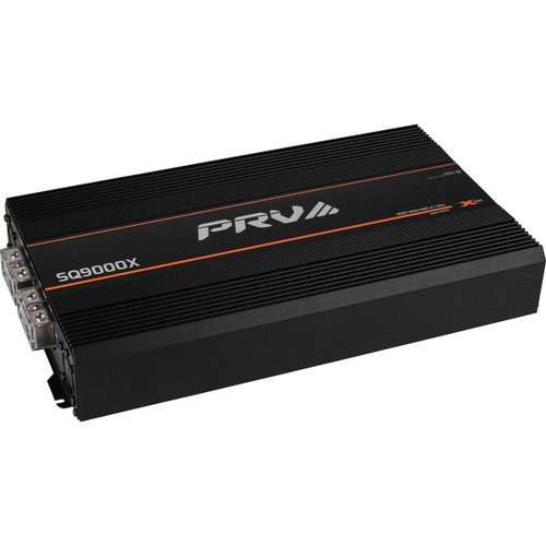 PRV Audio SQ9000 1 Ohm 1 Channel Mono Full-Range Amplifier 9,000W  For the highest output SPL mobile sound systems, PRV Audio's X Series amplifiers are setting a new standard for output, reliability, and value. Capable of 9,000 watts of sheer power, the remarkable SQ9000X 1 ohm mono amplifier delivers the most innovative and powerful Brazilian technology in full range class D 12 volt amplifiers on the market.  When engineering the SQ9000X, PRV Audio focused on achieving sound quality first, and then maximizing power, efficiency, and durability. These efforts led to the proprietary SQochre-Xwire power supply technology to deliver massive output with real-world input voltage levels and excellent sound quality. Combined with using some of the highest quality and most reliable electrical components on a heavy duty PC board takes this amplifier to the next level of performance with incredible dynamic power output. All X Series amplifiers use custom TO-247 MOSFETs with 60% more metal tab area for more power capacity, lower impedance, and improved heat dissipation over traditional outputs on most Brazilian amplifiers. The large capacitor bank is designed to store more energy and provide a high dynamic sound, capable of an astonishing peak power output of over 11,000 Watts. An efficient aluminum alloy cast heatsink enables the SQ9000X to have one of the smallest footprints in its power class while maintaining maximum heat dissipation under the most demanding conditions.  PRV Audio's SQ9000X is the perfect amplifier for use in your next extreme SPL sound system.
