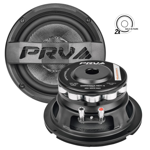 """PRV Audio 6MR500CF-NDY-4 6"""" Midrange Neodymium Speaker Pair 4 Ohm    Ideal for upgrading your sound system in your boat, UTV, 4-wheeler, or motorcycle, PRV Audio's 6MR500CF-NDY 6"""" carbon fiber midrange speaker sets the new standard in vocal reproduction for outdoor applications. Constructed of high-end materials like a carbon fiber cone, high-temperature voice coil, and powerful neodymium motor assembly, this driver produces natural sound with remarkably low distortion.  The tailored response of the 6MR500CF-NDY-4 comes from its exotic, yet supremely engineered, carbon fiber cone which delivers the signature PRV Audio combination of depth and accuracy on vocal reproduction. Beyond good looks, this cone is extremely light, surprisingly rigid, and provides excellent damping to keep narrow peaks under control, resulting in an incredibly natural yet accurate sound. A rubber surround and large flat spider suspend the cone and keep it linear through the limits of excursion with minimal restriction, further improving dynamics and transients. The suspension design of this midrange features the single layer spider which connects to the coil former with premium stitched lead wires.  The cone is coupled to a copper-clad aluminum wire voice coil providing high efficiency and excellent power handling. Driving the coil is a magnet that consists of high-power neodymium radial slugs that immerse the voice coil in a strong magnetic field. The bumped back plate, vented magnet system, vented pole piece, and high-temperature voice coil allow for high power handling while protecting this driver from extreme transient power peaks.  You can expect excellent off-axis and transient response from this water-resistant midrange for a great sound stage and realistic sound reproduction.  Built for loud, clear vocal performance in tight, compact spaces, PRV Audio's 6MR500CF-NDY-4 neodymium-powered carbon fiber midrange features a sensitivity of 96 dB (2.83V/1m) and weighs only 3.85 pounds. As alw"""