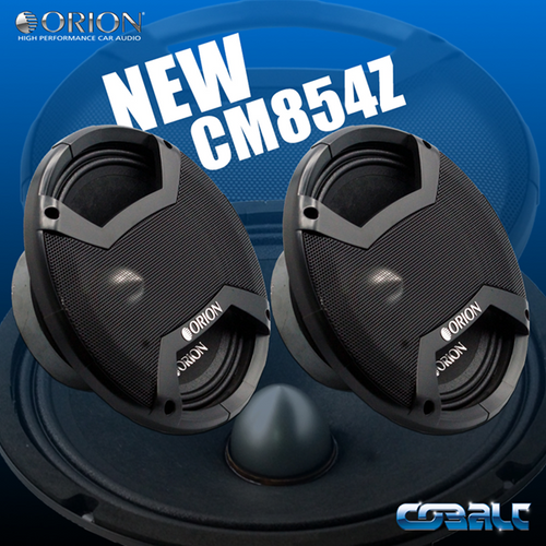 "Orion Cobalt CM854Z Pair of 8"" Midrange Speaker, 350W RMS, 4 Ohm  The Orion Cobalt CM854Z sets itself apart by using the highest quality control and raw materials available for it's high-end technology. With a 1.5"" high temp voice coil this midrange is ready to handle the majority of applications and still provide excellent sound quality without breaking a sweat!  Brand: Orion Car Audio Series: Cobalt Model: CM854Z Freq: 100HZ - 12.5KHz Efficiency: 97.89dB 1w/1m Voice Coil: 1.5"" High Temperature Impedance: 4 Ohm Power Handling: 350 Watts RMS (each) / 750 Watts Nominal (each) / 1500 Watts Peak Total Includes: x2 - CM854Z Midrange Drivers, Molded Custom Grills  We are an authorized dealer for Orion Car Audio products."