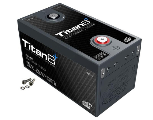 XS Power RSV-S7 16v Lithium Titan8 Battery  Lithium Titanate Battery  DESCRIPTION  Reserve Modules - Designed for Peak Capacity  This Titan8 Series Lithium Titanate Oxide (LTO) series uses a cell that is designed to maximize capacity and deep cycling abilities. They have double the amount of storage energy but only half of the instant discharge energy. This gives it double the capacity rating, but half of the wattage rating. The built in 2/0 bussing allows up to 4 Positive and 4 Negative hidden direct connections to each module without the need for any external exposed bussing, while still leaving two easily accessible top terminals and four series or parallel expansion terminals to easily build a bank of nearly any configuration from 16V, 48V, or any configuration imaginable.  Weight Lbs. – 10lbs Weight Kgs.– 4.5kgs  Length– 9.24 in Height– 5 in Width– 4.85 in  Voltage– 16V Wattage– 3,500 MAX Amps– 1,000 Energy Wh– 322 CA– 500A CA Pb Eq– 750A Ah– 20 Ah Pb Eq– 60