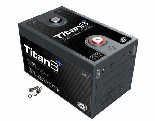 XS Power RSV-S6 14v Lithium Titan8 Battery Rated for up to 3,000 Watts!  Lithium Titanate Battery  DESCRIPTION  MSRP: $885.99  Reserve Modules - Designed for Peak Capacity  This Titan8 Series Lithium Titanate Oxide (LTO) series uses a cell that is designed to maximize capacity and deep cycling abilities. They have double the amount of storage energy but only half of the instant discharge energy. This gives it double the capacity rating, but half of the wattage rating. The built in 2/0 bussing allows up to 4 Positive and 4 Negative hidden direct connections to each module without the need for any external exposed bussing, while still leaving two easily accessible top terminals and four series or parallel expansion terminals to easily build a bank of nearly any configuration from 14V, 28V, or any configuration imaginable.  Weight Lbs. – 9lbs Weight Kgs.– 4.1kgs  Length– 8.3 in Height– 5 in Width– 4.85 in  Voltage– 14V Wattage– 3,000 MAX Amps– 1,000 Energy Wh– 276 CA– 500A CA Pb Eq– 750A Ah– 20 Ah Pb Eq– 60     M6 Terminal Hardware Included     1Year Warranty     DOWNLOAD INSTRUCTIONS    .  PROP 65 WARNING:This product can expose you to chemicals including lead and lead compounds, which are known to the State of California to cause cancer or birth defects or other reproductive harm. Wash hands after handling.  For more information, visitwww.P65Warnings.ca.gov