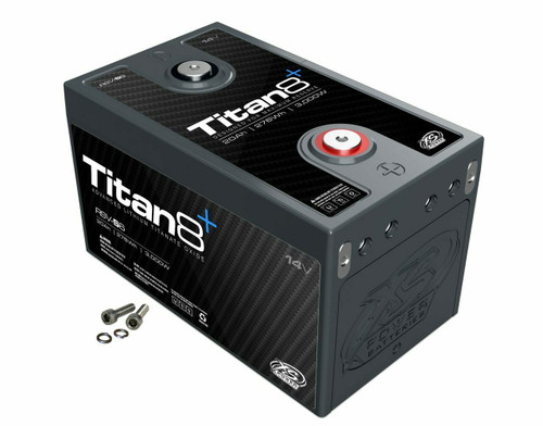 XS Power RSV-S5 12v Lithium Titan8 Battery Rated for up to 2,500 Watts!  Lithium Titanate Battery  DESCRIPTION  MSRP: $747.99  Reserve Modules - Designed for Peak Capacity  This Titan8 Series Lithium Titanate Oxide (LTO) series uses a cell that is designed to maximize capacity and deep cycling abilities. They have double the amount of storage energy but only half of the instant discharge energy. This gives it double the capacity rating, but half of the wattage rating. The built in 2/0 bussing allows up to 4 Positive and 4 Negative hidden direct connections to each module without the need for any external exposed bussing, while still leaving two easily accessible top terminals and four series or parallel expansion terminals to easily build a bank of nearly any configuration from 12V, 24V, 36V, or any configuration imaginable.  Weight Lbs. – 8lbs Weight Kgs.– 3.63kgs  Length– 7.4 in Height– 5 in Width– 4.85 in  Voltage– 12V Wattage– 2,500 MAX Amps– 1,000 Energy Wh– 230 CA– 500A CA Pb Eq– 750A Ah– 20 Ah Pb Eq– 60  M6 Terminal Hardware Included     1 Year Warranty  DOWNLOAD INSTRUCTIONS MANUAL