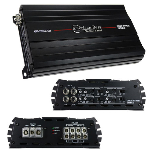 AMERICAN BASS GF-500.4D GODFATHER 4 CHANNEL AMPLIFIER, 1440W RMS  360 X 4 RMS @ 2 OHMS 240 X 4 RMS @ 4 OHMS 760 X 2 RMS @ 4 OHMS (BRIDGED) DIM (W X H X L) 7.15″X 2.33″ X 11.82″  EXTERNAL FUSE REQUIRED – 130A (NOT INCLUDED)  2-OHM STABLE FREQUENCY RESPONSE: 10 HZ – 34 KHZ S/N RATIO: 85 DB LOW PASS FILTER: 50 HZ – 800 HZ MULTIPLIER (X1 – X10): 500 HZ – 800 HZ HIGH PASS FILTER: 20 HZ – 800 HZ MULTIPLIER (X1 – X10): 200 HZ – 8000 HZ RCA INPUTS SURFACE MOUNT TECHNOLOGY DOUBLE SIDED PRINTED CIRCUIT BOARD  DC, OVERLOAD, OVERHEAT AND VOLTAGE PROTECTION