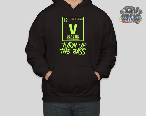 Black Hoodie with Lime Green Image / Text
