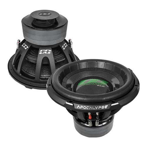 """Deaf Bonce Apocalypse DB-3515R D1/D2 15"""" Subwoofer, 3500W/7000W  New 2021 """"R"""" Series Model Subwoofer  Specifications ModelDB-3515R D2 / DB-3515R D1 TypeSubwoofer Size15 inch Voice coil size3.50 inch ConeCarbon MagnetFerrite Voice coil wireNone SurroundFoam RMS Power3500 W MAX Power7000 W FrameAlu Impedance2+2 / 1+1 Ohm SPL87.50 / 87.30 dB Fs32.30 / 32.00 Hz Qts0.39 / 0.38 BL27.20 / 23.90 Vas69.00 / 68.30 L Xmeh45.00 45.00 / 45.00 mm Xmax22.50 / 22.50 mm Mounting depth10.96 inch (278.5 mm) Cut-out dimension13.97 inch (355.0 mm) Gross weight87.30 lb (39.60 kg)"""
