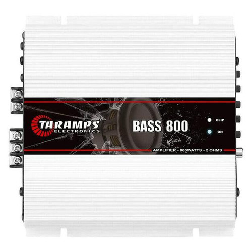Taramps 1 Channel 800 Watt 2 Ohm Class D Module Amplifier BASS 800  BASS 800 is another member of the BASS family from Taramps. With high performance, new design, and income in automotive sound systems, it's an amplifier module aimed at subwoofer and bass responses, in the range of 8Hz to 250Hz. Maximum power of 800 Watts RMS, with customized adjustments according to the size of the trunk and the most prominent amplifier frequency can offer much more control of excessive displacement through SUBSONIC FILTER, volume control, and LOW PASS allowing a customized adjustment for the subwoofer and bass of your sound system. Welcome to the sound world of Taramps!