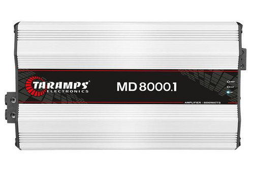 """Taramps 8000W 2 Ohm Class D Monoblock Amplifier Full Range Car Audio MD-8000.1  This listing includes: (1) MD-8000.1 8000W Class D Monoblock Amplifier  Specifications: Operation Class: D Number of Channels: 1 Max Power: 8000 Input Sensitivity: 220 mV Signal to Noise Ratio: Greater than 90 dB Frequency Response: 10Hz-10KHz (-3 dB) Crossover High Pass: 10Hz-90Hz Variable Crossover Low Pass:90Hz-10 KHz Variable Bass Boost: 35Hz-55Hz / 0-10 dB Efficiency:85% Input Impedance: 22K Ohms Output Impedance: 2 Ohm Protection System: Short Circuit to output, Low impedance at output, high/ low supply voltage and thermal protection Minimum Supply Voltage:9V DC Maximum Supply Voltage: 16V DC Consumption At Rest: 2A Maximum Music Consumption: 373.40A Maximum Consumption in Sinusoidal Signal:746.90A  Dimensions(W X H X L): 8.98"""" x 2.76"""" x 16.50"""""""
