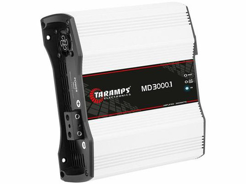 Taramps Electronics MD3000-2 Mono 3000W 2 Ohm Amplifier  MD Line 3000.1 amplifier is designed with high performance and technology for car audio sound systems. This full range mono amplifier's max power is 3000W with 2 Ohm impedance. This way you can experience and appreciate frequencies in the right measure.  Quantity: 1 Operation Class: Class D Channels: 1 Max Power at 12.6VDC - 2 Ohms: 1920W Input Sensitivity: 220mV Signal to Noise Ratio: greater than 90dB Frequency Response at Full Range: 10Hz to 18KHz (-3dB) Crossover High Pass (HPF) Variable: 10Hz to 90Hz (-12dB) Crossover Low Pass (LPF): Variable: 90 Hz to 18KHz (-12dB) Bass Boost: 35Hz to 55Hz, 0 to 10dB(50Hz) Input Impedance: 15K Ohms Output Impedance: 2 Ohm Protection System: Short-Circuit to Output, Short on output compared to GND, Low impedance at output, low/high supply voltage and Thermal protection Maximum Supply Voltage: 16 VDC Minimum Supply Voltage: 9 VDC Consumption at rest: 1.0 A Maximum Musical Consumption: 150 A Maximum Consumption in Sine Signal: 300 A