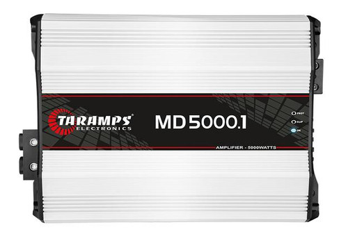 Taramps MD5000-1 Full Range Mono 1 Ohm 5000W Car Audio Amplifier Class D  1 x Taramps Electronics MD5000-1 Mono 5000W 1 Ohm Amplifier MD Line 5000.1 amplifier is designed with high performance and technology for car audio sound systems. This full range mono amplifier's max power is 5000W with 1 Ohm impedance. This way you can experience and appreciate frequencies in the right measure.