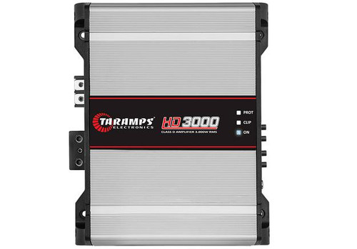 Taramps HD3000-2 Full Range Amplifier 2 Ohm 3000W Car Audio Monoblock  1 x Taramps Electronics HD3000-2 Mono 3000W 2 Ohm Amplifier  HD Line 3000.2 amplifier is designed with high performance and technology for car audio sound systems. This full range mono amplifier's max power is 3000W with 2 Ohm impedance. This way you can experience and appreciate frequencies in the right measure.  Quantity: 1 Operation Class: Class D Channels: 1 Max Power at 12.6VDC - 1 Ohm: 3000W Max Power at 12.6VDC - 2 Ohms: 2025W Max Power at 12.6VDC - 4 Ohms: 1140W Input Sensitivity: 230mV Signal to Noise Ratio: greater than 89dB Frequency Response at Full Range: 10Hz to 20KHz (-3dB) Crossover High Pass (HPF) Variable: 10Hz to 80Hz (-12dB) Crossover Low Pass (LPF): Variable: 80 Hz to FULL (-12dB) Bass Boost: 0 to 10.5dB in 50Hz Thermal Management: Smart Cooler (fan controlled by temperature or audio with 3 speeds) Efficiency: 83% Input Impedance: 18K Ohms Output Impedance: 2 Ohm Protection System: Output Short circuit / High or Low supply voltage / Thermal protection Maximum Supply Voltage: 16 VDC Minimum Supply Voltage: 9 VDC Consumption at rest: 1.7 A Maximum Musical Consumption: 143.5 A Maximum Consumption in Sinusoidal Signal: 287 A