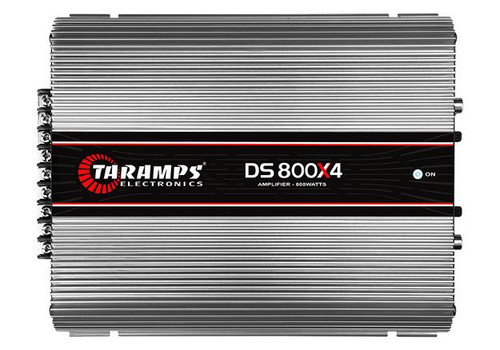 """Taramps DS800X4 Full Range 2 Ohms 800W 4 Channel Class D Car Audio Amplifier   1 x Taramps DS800X4 2 Ohm 800W Full Range Car Audio Amplifier  The DS800X4 amplifier is developed with the highest technology and performance for car audio systems. The amplifier is stereo with a maximum power of 800W with 2 Ohms impedance, and 4 channels of 200W RMS. This full range amplifier plays all frequencies just right for you.  Quantity: 1 Class: D Channels: 4 Max Power at 12.6 VDC - 2 Ohms: 800W (4 x 200W RMS) Max Power at 12.6 VDC - 4 Ohms: 544W (4 x 136W RMS) Input Sensitivity: 250mV Signal to Noise Ratio: greater than 88dB Frequency Response: 10Hz to 36KHz (-3dB) High Pass Crossover: 90Hz (-12dB/8th) Fixed Low Pass Crossover: 90Hz (-12dB/8th) Fixed Input Impedance: 18k Ohms Output Impedance: 2 Ohms Protection System: Output Overload Minimum Supply Voltage: 9 VDC Maximum Supply Voltage: 16 VDC Resting Consumption: 1.4 A Max Music Consumption at 12.6 VDC: 43 A Max Consumption in Sine Signal: 86 A  Dims: 9"""" x 8"""" x 4"""""""