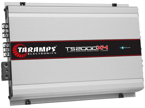 Taramps TS2000X4 Full Range 4 Channel 2 Ohm Class D 2000W Car Audio Amplifier  The TS 2000X4 amplifier module is carefully developed with state-of-the-art technology, offering high efficiency and performance for automotive audio systems. Classified as Multi-channel, it has a maximum power of 2.000 watts RMS running at a 2-ohms impedance, with four 500 watts RMS channels. It is FULL-RANGE, operating on all frequencies in the right measure.  This Listing Includes: (1) Amplifier
